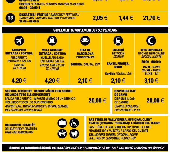 Tarifas 2013 del Taxi en Barcelona.