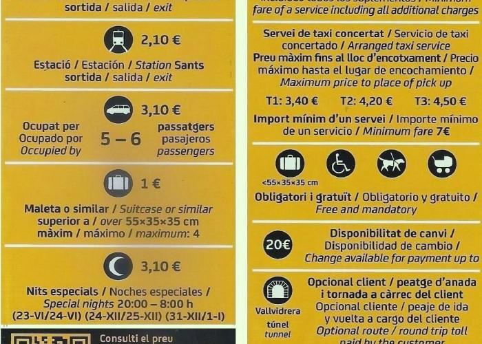Tarifas del Taxi de Barcelona 2015 Urbanas y Carretera.